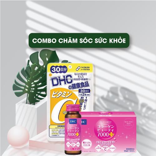 Combo Viên Uống DHC Vitamin C Hard Capsule 60 Viên  Và Thực Phẩm Bảo Vệ Sức Khỏe Dạng Nước DHC Collagen Beauty 7000 Plus 50 ml