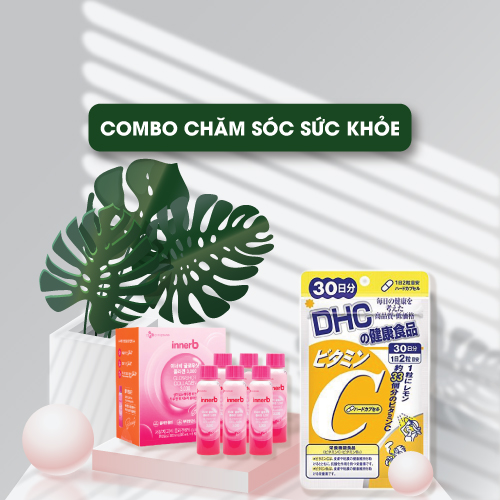 Combo Viên Uống DHC Vitamin C Hard Capsule 60 Viên Và Nước Uống InnerB Collagen 6 Chai