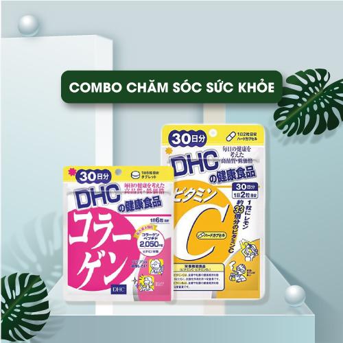 Combo Viên Uống DHC Vitamin C Hard Capsule 60 Viên Và Viên Uống DHC Collagen Đẹp Da